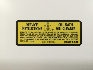 Picture of 800 Oil Bath Air Cleaner decal